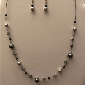 Black/Gray Swarovski Necklace and Earring set.